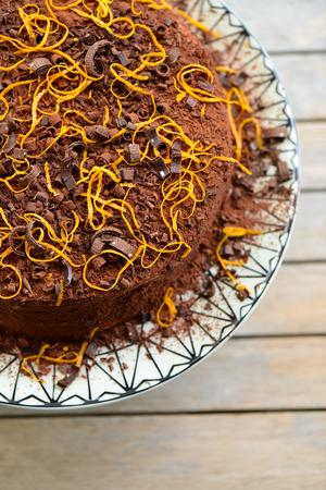 orange cake: Orange cake with chocolate and orange slices. Stock Photo