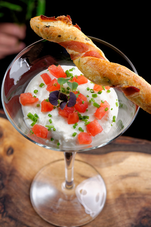 shrimp cocktail: Fine dining, shrimp cocktail with cream, tomato and grissini stick with bacon