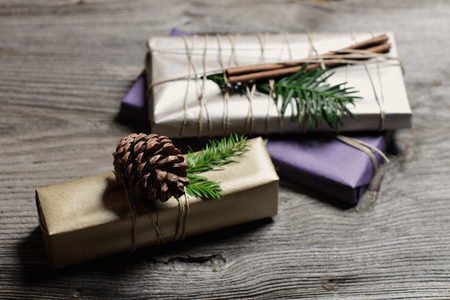 Stylish & Modern Rustic Christmas Gifts Box Presents On The Old ...