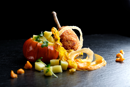 haute cuisine: Fried duck foie gras with sweet apples - haute cuisine dish Stock Photo