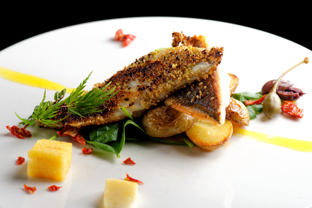 fine dining: Fine dining, Seabream fish fillet breaded in herbs and spice with potato and vegetable