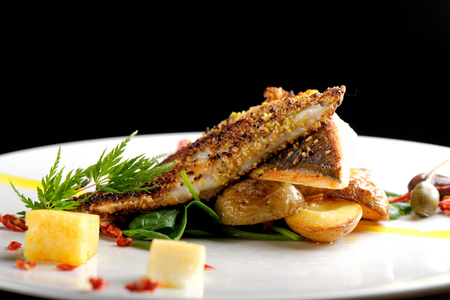 flesh eating animal: Fine dining, Seabream fish fillet breaded in herbs and spice with potato and vegetable