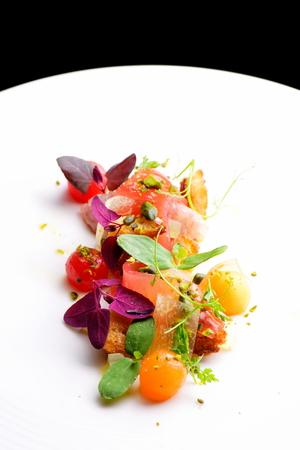 haute cuisine: Haute cuisine appetizer with tuna tartare, watermelon and spices