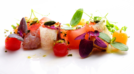 mediterranean cuisine: Haute cuisine appetizer with tuna tartare, watermelon and spices