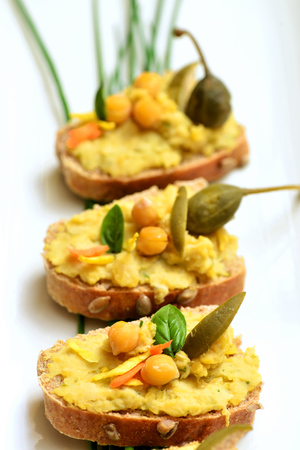 crusty: Crusty bread with healthy Homemade Creamy Hummus with Olive Oil