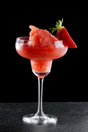 pureed: Fresh pureed strawberry margarita daiquiri cocktail