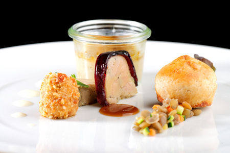 foie gras: Fine dining, Roasted foie gras in gelly  with bread Stock Photo