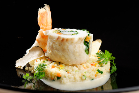fine fish: Fine dining, Sole fish fillet with shrimp and truffles on couscous