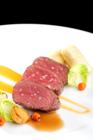 venison: Fine dining, Venison meat steak with vegetable