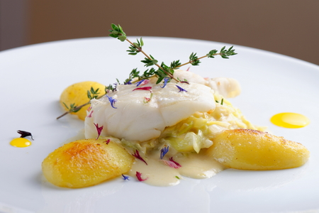 fine fish: Fine dining, Seabream fish fillet with herbs and spice,potato and vegetable