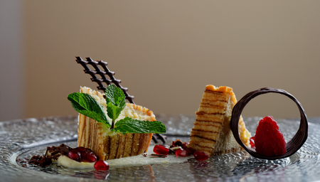 haute cuisine: Haute cuisine, Parfait dessert on restaurant table, shallow focus depth
