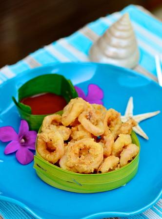 breaded: fried squid rings breaded Stock Photo