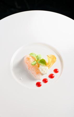 sauce dish: Fresh shrimp with butter foam Stock Photo