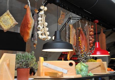Italian gourmet market in small Tuscany town