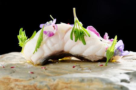 haute cuisine: Turbot fish sashimi  Haute cuisine Stock Photo