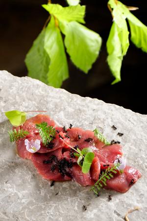 venison: Haute cuisine, venison meat carpaccio with ants