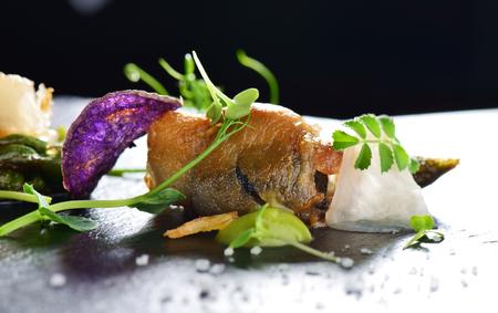 haute cuisine: Haute cuisine, Gourmet food scallops with asparagus and lardo bacon