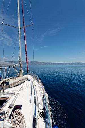 yachting: Luxury yacht at sea race. Sailing regatta. Cruise yachting