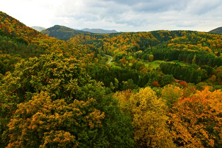 Beautiful green hiils of Alsace, France, autumnal view Stock Photo