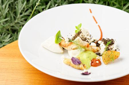 haute cuisine: Haute cuisine, Gourmet appetizer, squid, shrimp tempura Stock Photo