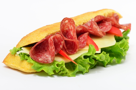 filled out: Sandwich with salami cheese, tomato and lettuce