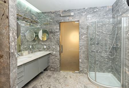 bathroom interior: Luxury marble Bathroom Interior Stock Photo