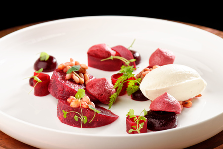 Fine dining dessert, Beet root, cherry Parfait, ice cream, white chocolate mousse and spices