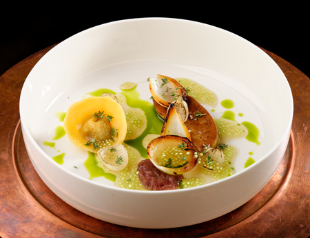 Haute cuisine, roasted Foie gras with homemade ravioli