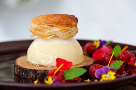 Fine dining dessert, Vanilla Parfait, forrest fruit, white chocolate mousse Stock Photo