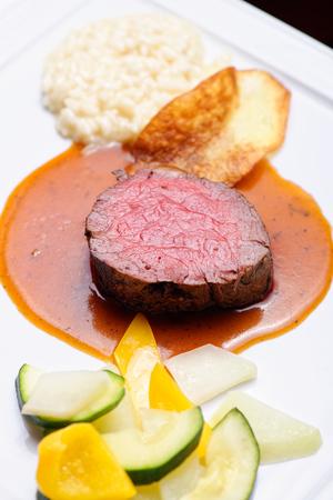 venison: Fine dining Venison meat steak with vegetable Stock Photo