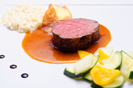 Fine dining Venison meat steak with vegetable Stock Photo