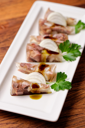Beef Aspic, fine dining Stock Photo