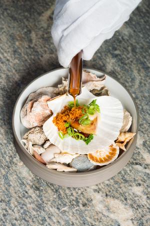 Haute cuisine, Gourmet seafood scallops Stock Photo
