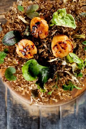 Haute cuisine, Gourmet food scallops, Fine dining