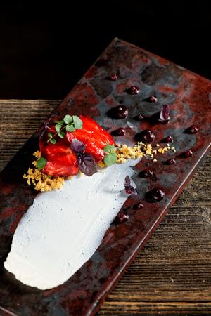 Tuna sashimi, tuna tartare and beetroot sauce. Haute cuisine Stock Photo