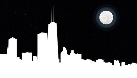 De skyline van de stad Chicago geïllustreerd in de nacht