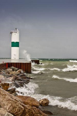 Pierhead op Lake Michigan schepen vast kanaal in Pentwater Lake begeleiden.