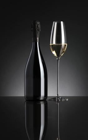 sparkling wine on dark background