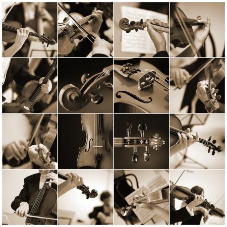 orquesta: Collage m�sicos de detalle de viol�n a tocar una sinfon�a  Foto de archivo