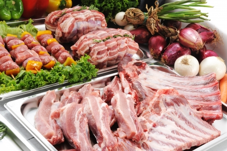 lunch tray: Raw meat, close up Stock Photo