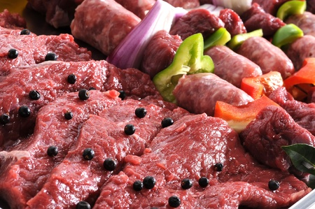 trays: Raw meat, close up Stock Photo