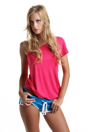 tanned girl: beautiful tanned girl with long blond hair