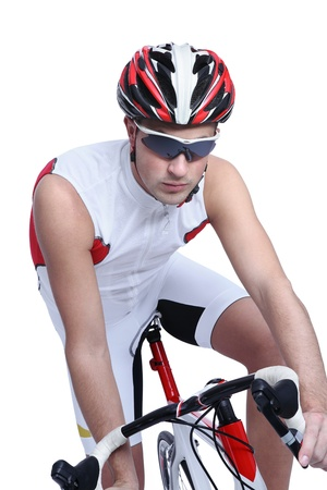 racing bike: cyclist with bike