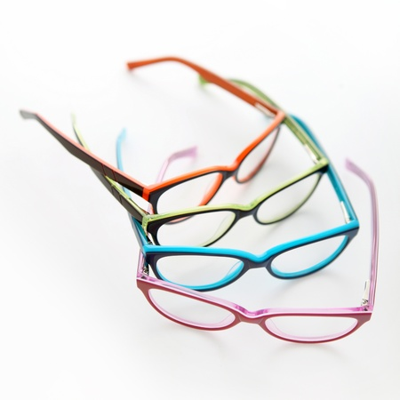 wearing spectacles: composition of colored glasses