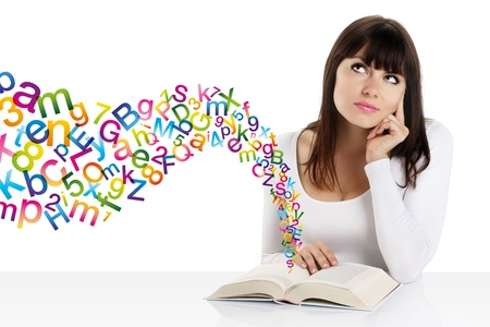 mind power: girl with book and letters of colored words