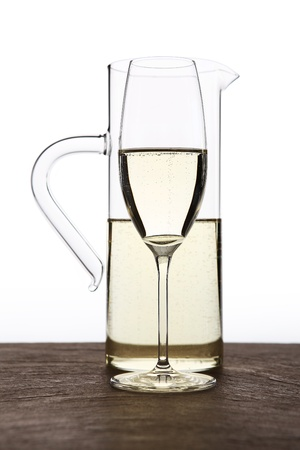 carafe: carafe of white wine with glass