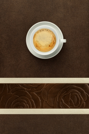 cup of coffee on the table decorated photo