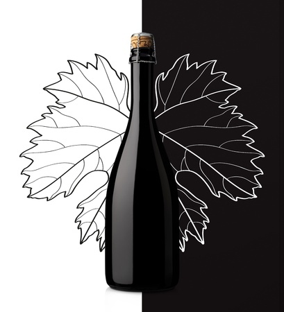 sparkling wine with grape leaf on white and black background Stok Fotoğraf