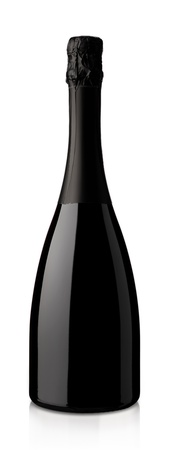 red wine bottle: bottle of sparkling wine on a white background