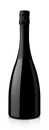 bouteille champagne: bouteille de vin mousseux sur un fond blanc